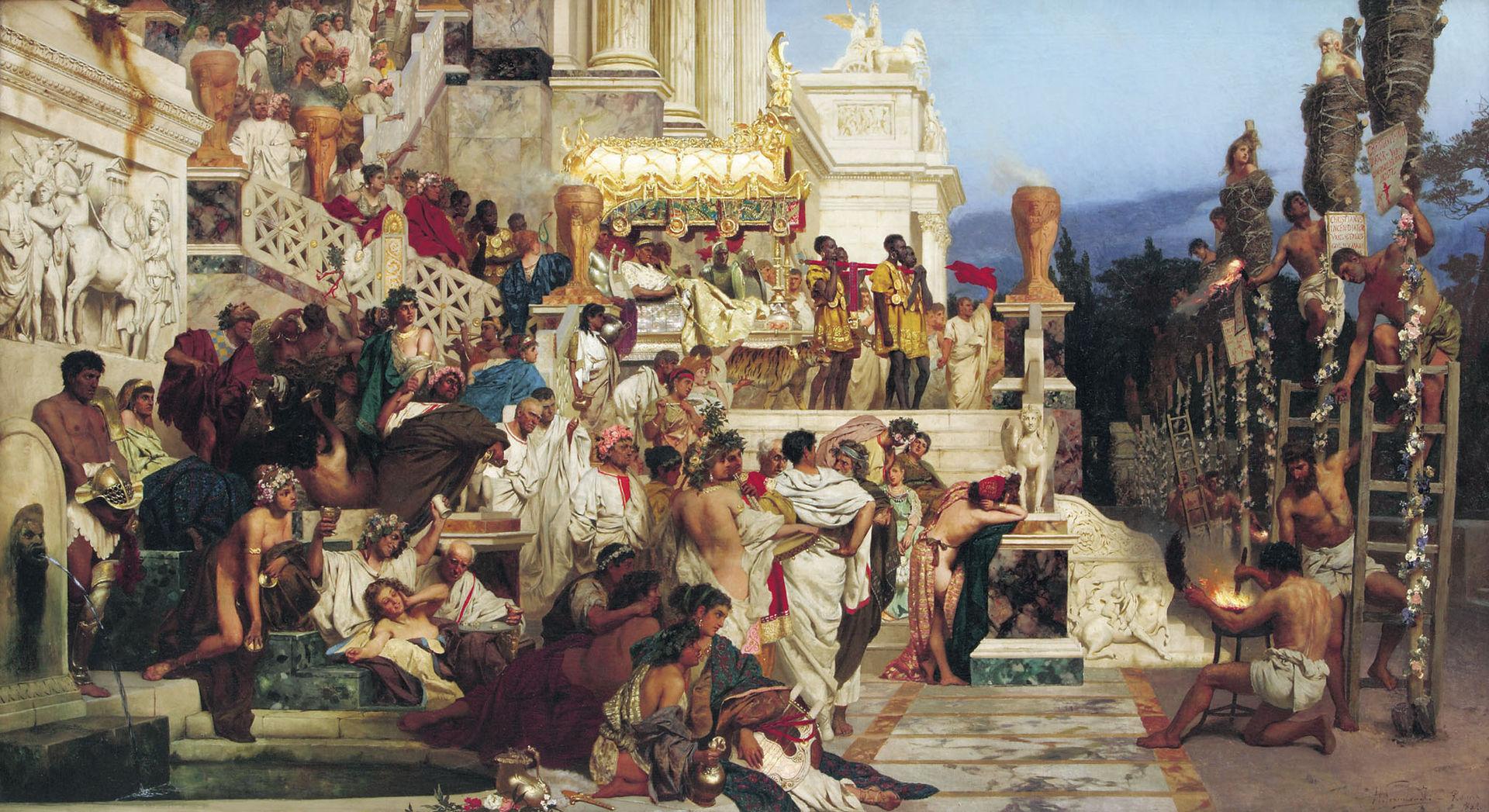 Henryk Siemiradzki - Torțele lui Nero – chiar dacă am demontat parțial martiriul creștinilor de după incendiul din Roma, legenda rămâne